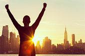 Successful Woman Sunrise New York City Skyline