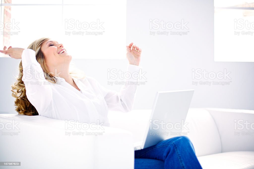 successful woman working at home royalty-free stock photo