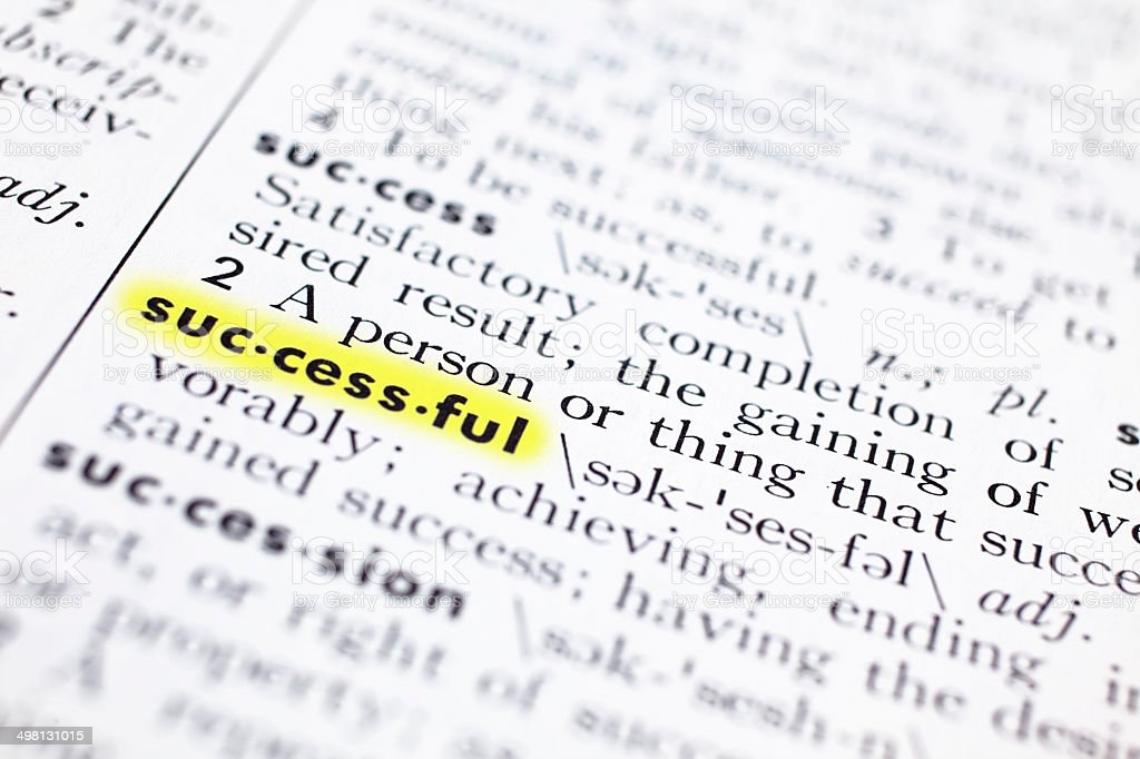 Successful word highlighted with definition inside a dictionary. stock photo