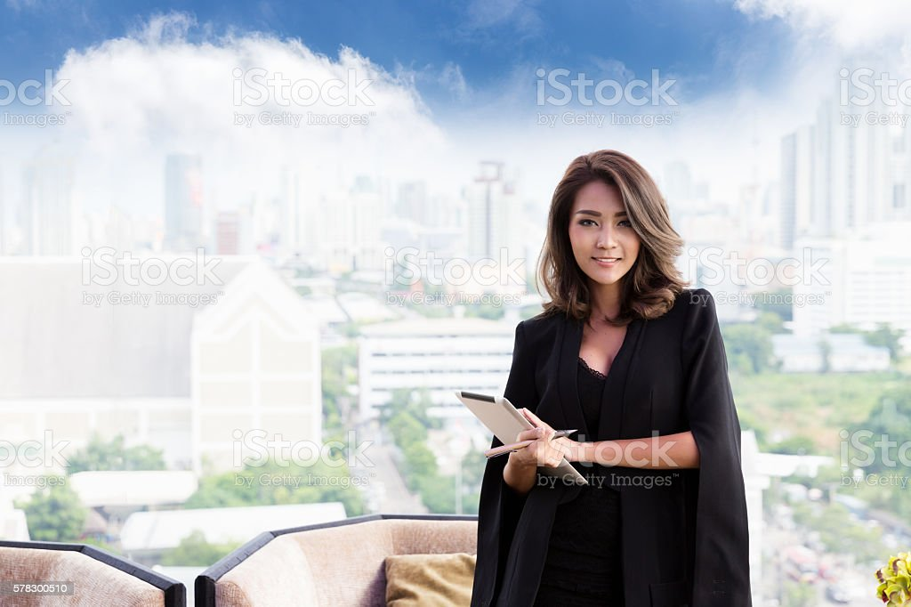 Successful worker. Smiling business woman stock photo