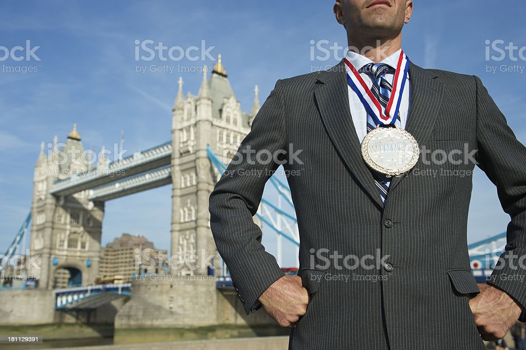 Successful Young Man Businessman Gold Silver Medal Tower Bridge London royalty-free stock photo
