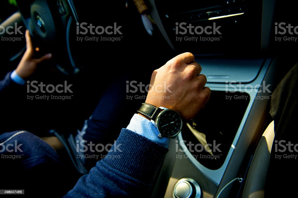 successful young man drive stock photo
