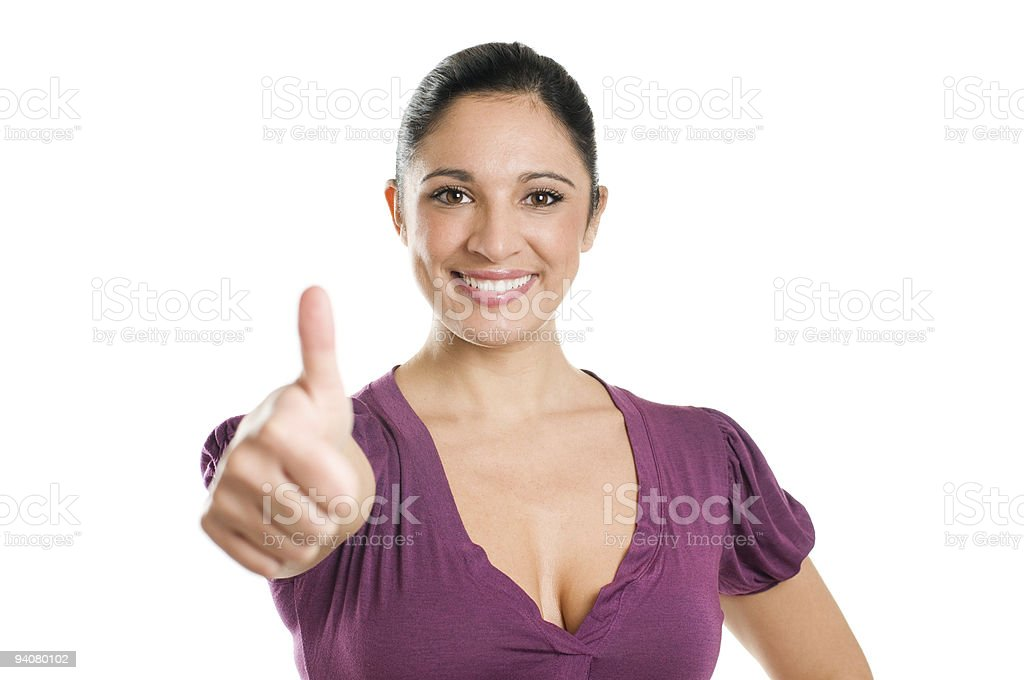 Successful young woman showing thumb up royalty-free stock photo