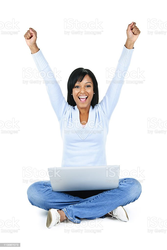 Successful young woman with computer stock photo