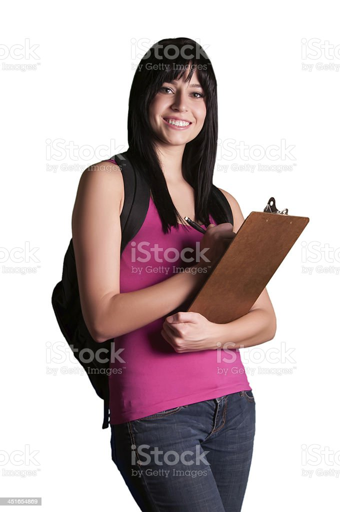 Successfull happy back to school university college student exam girl stock photo