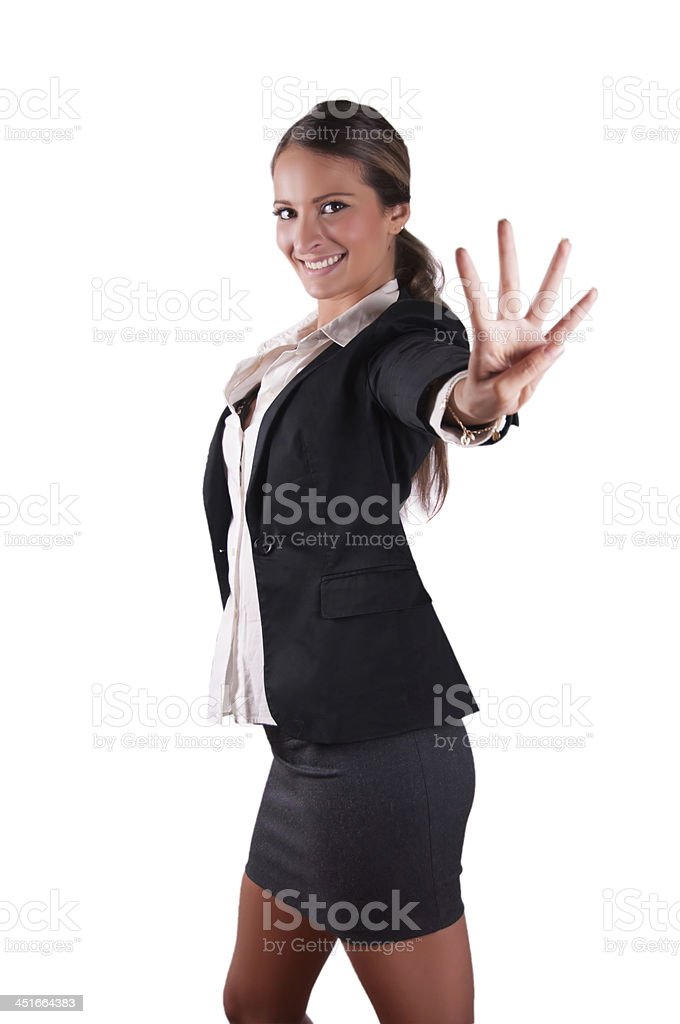 Successfull sexy corporate woman in black jacket smiling number 4 stock photo