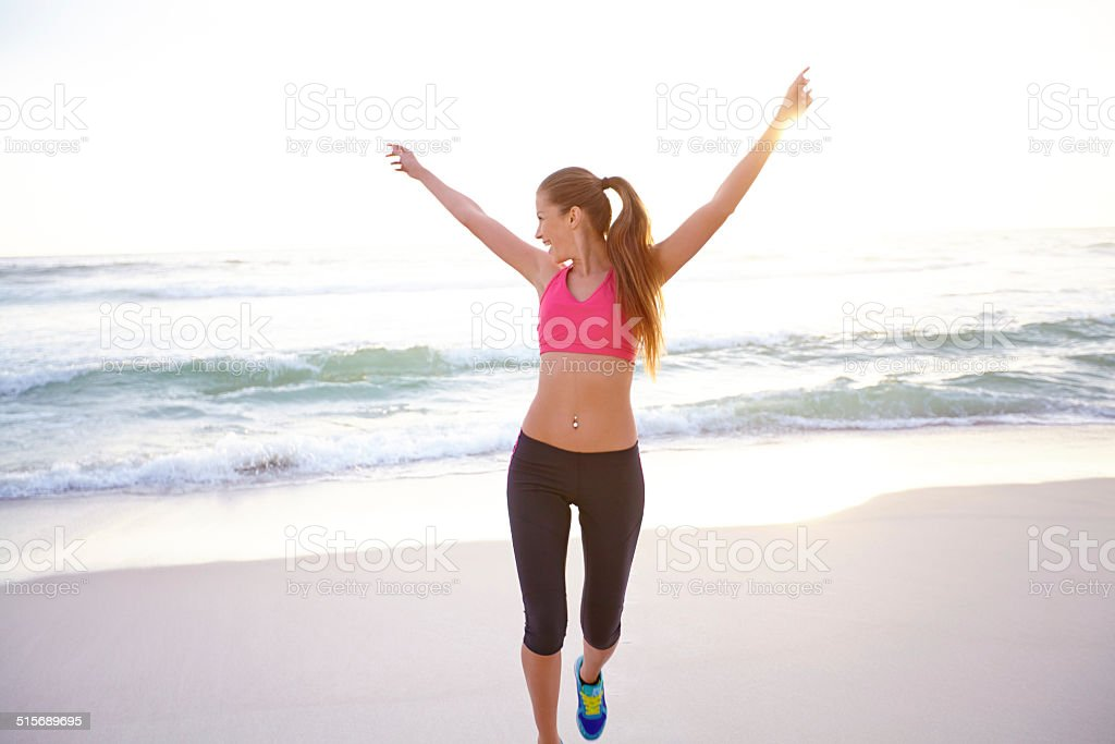 Successfully reaching her goal weight stock photo