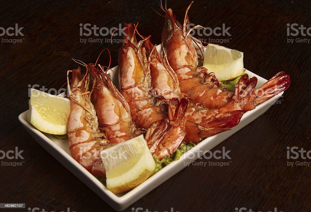 Succulent king prawns. stock photo