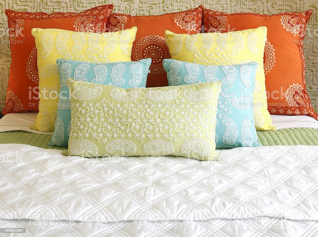 Such A Pretty Arrangement Of Bed Cushions stock photo