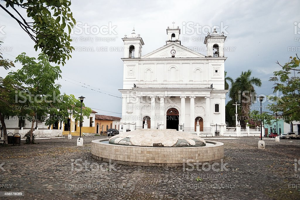 Suchitoto cathedral stock photo
