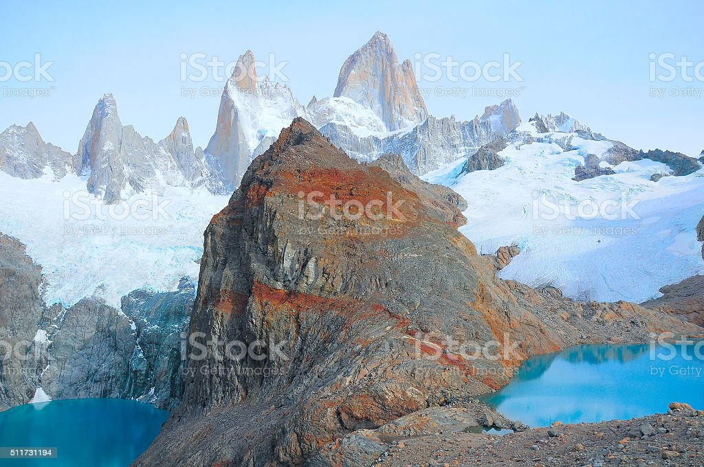 Sucia and Los Tres lakes by Fitz Roy mountain. stock photo