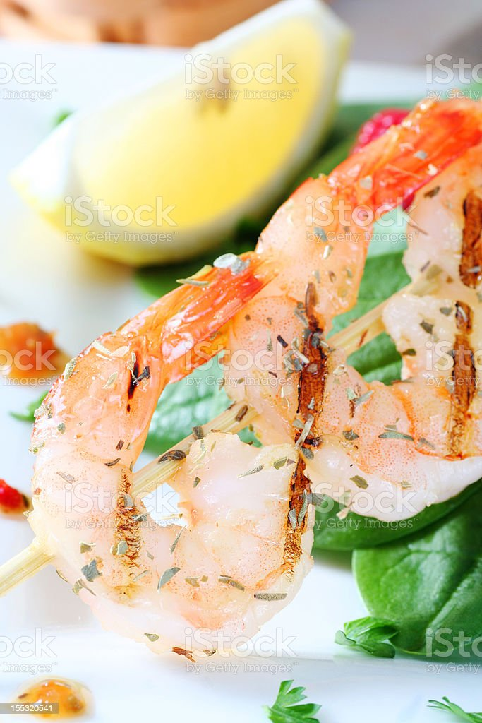 suculent grilled shrimp royalty-free stock photo