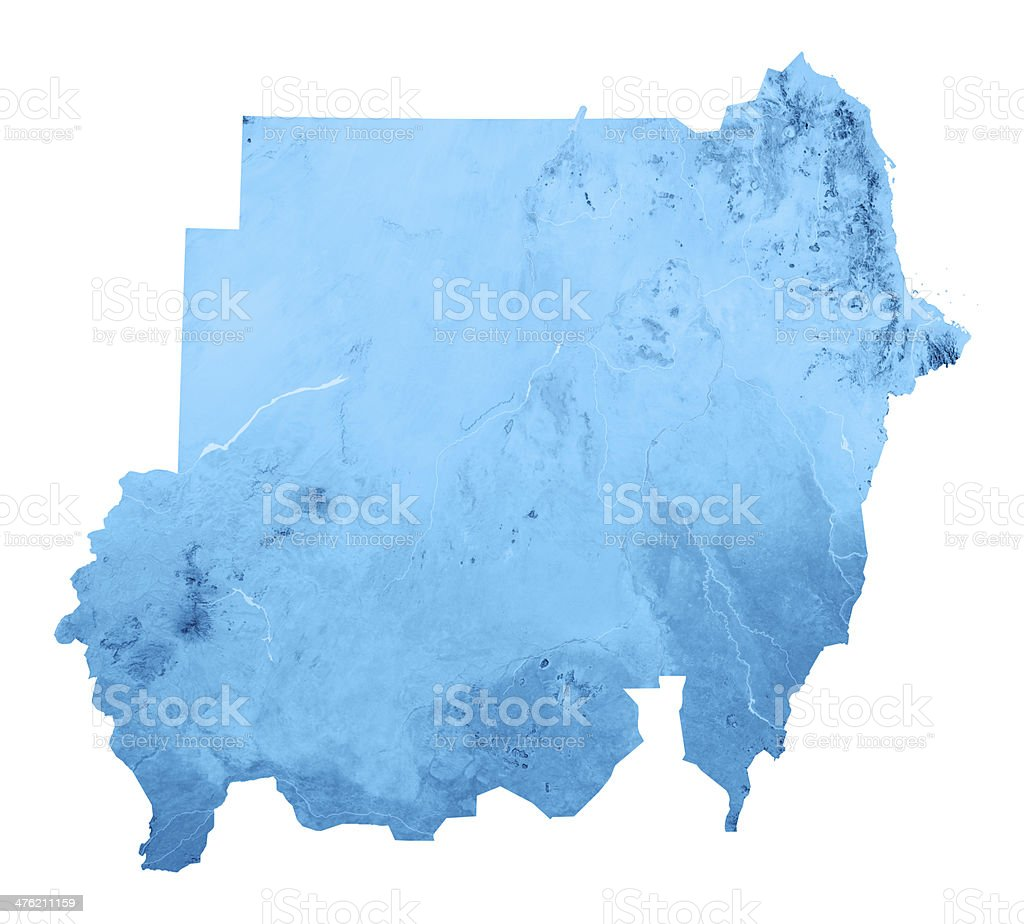 Sudan 2011 Topographic Map Isolated royalty-free stock photo