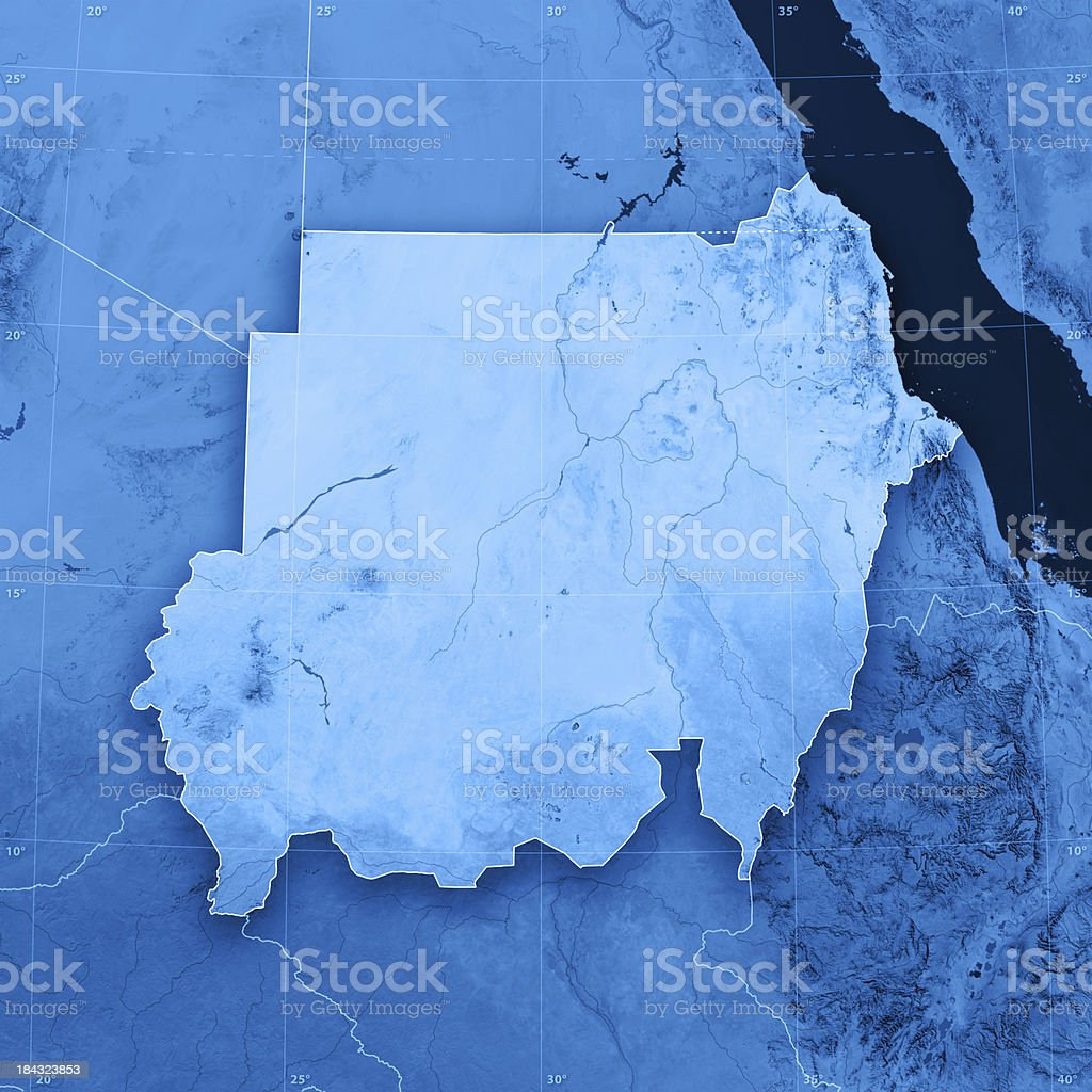 Sudan 2011 Topographic Map stock photo