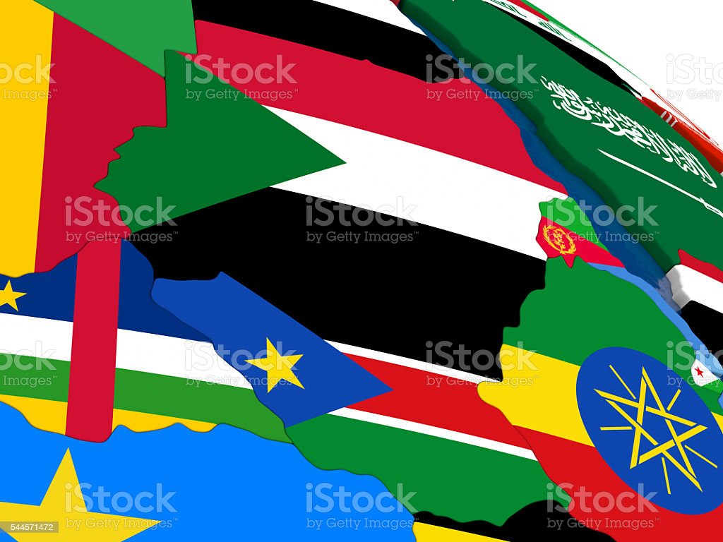 Sudan and South Sudan on 3D map with flags stock photo