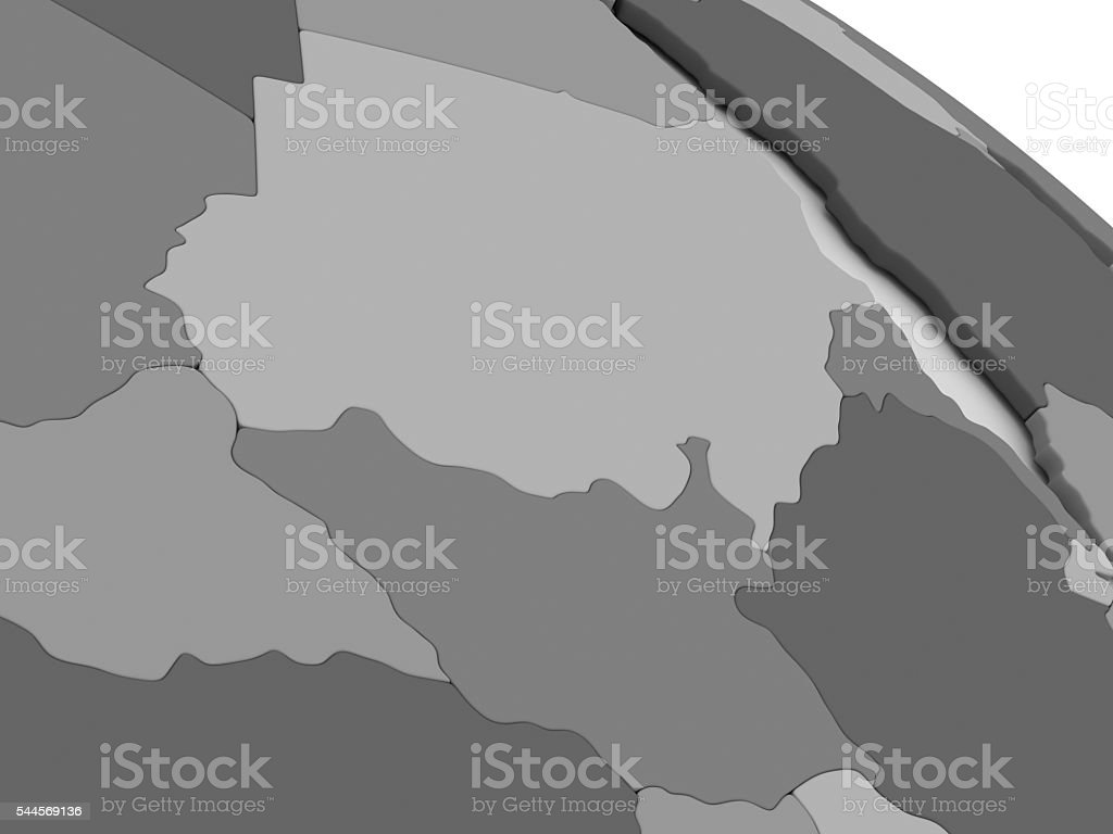 Sudan and South Sudan on grey 3D map stock photo