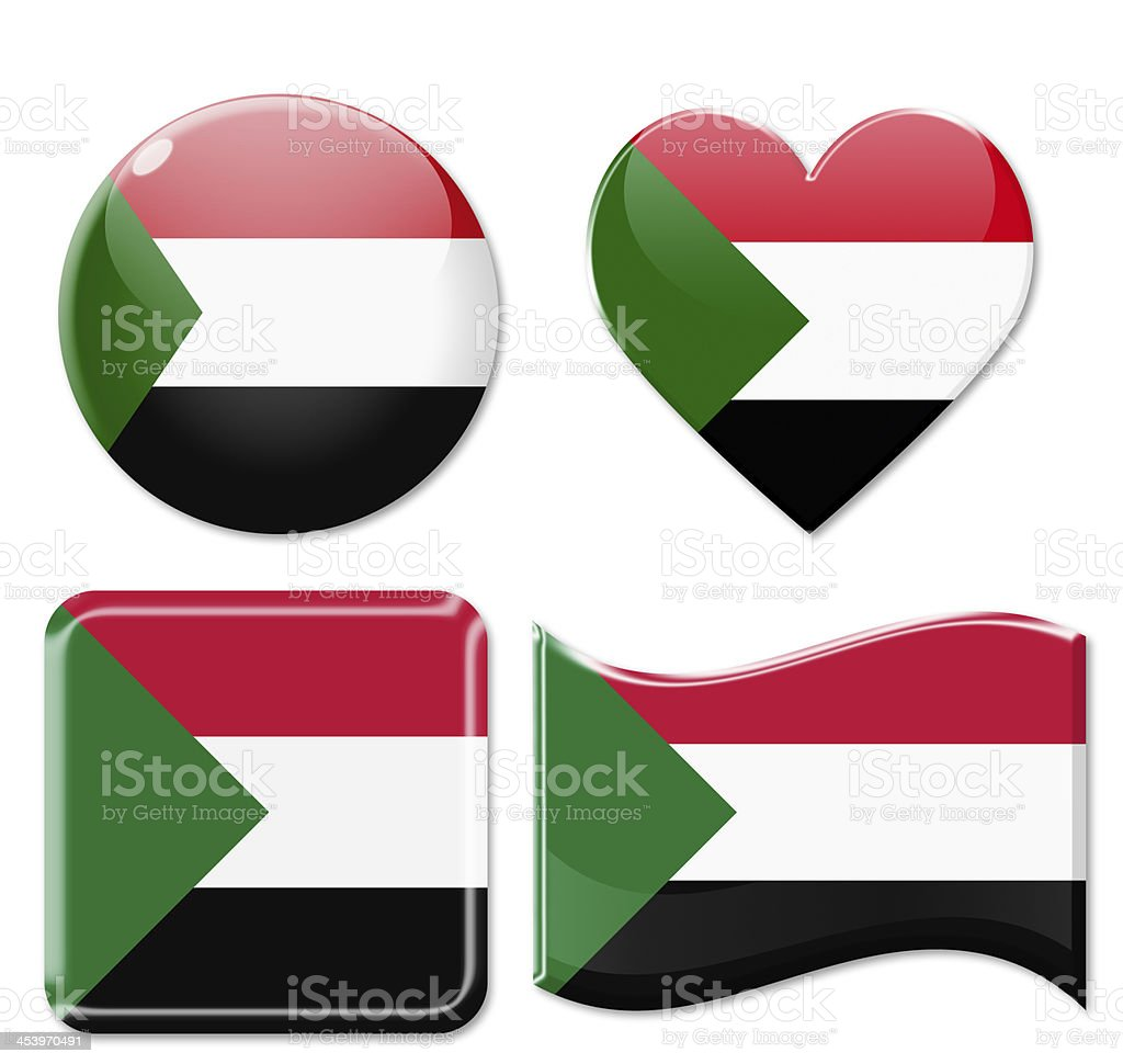 Sudan Flags & Icon Set stock photo