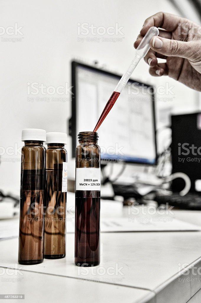 Sudan IV dye in a microchemical laboratory stock photo