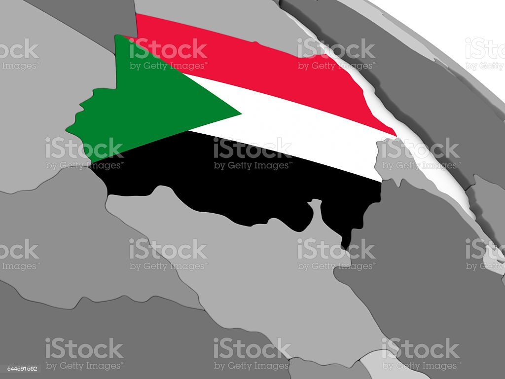Sudan on globe with flag stock photo