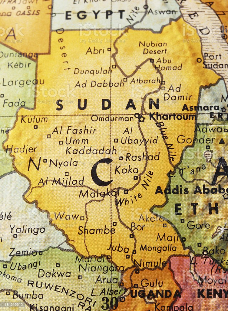 Sudan on the Map stock photo