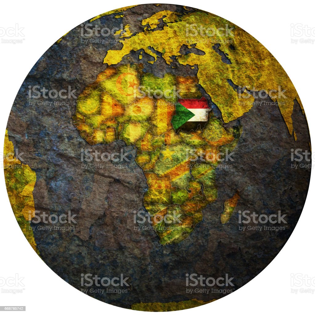 sudan territory with flag on map of globe stock photo