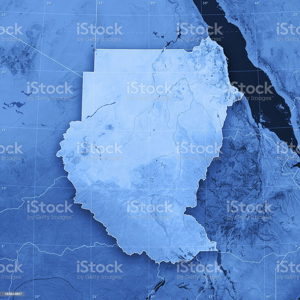 Sudan Topographic Map stock photo