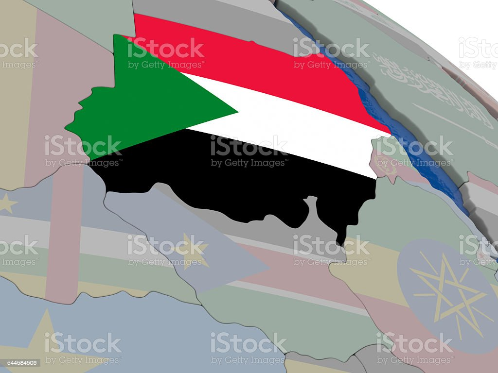 Sudan with flag stock photo