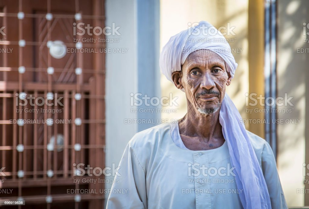 Sudanese man smiling for a camera stock photo