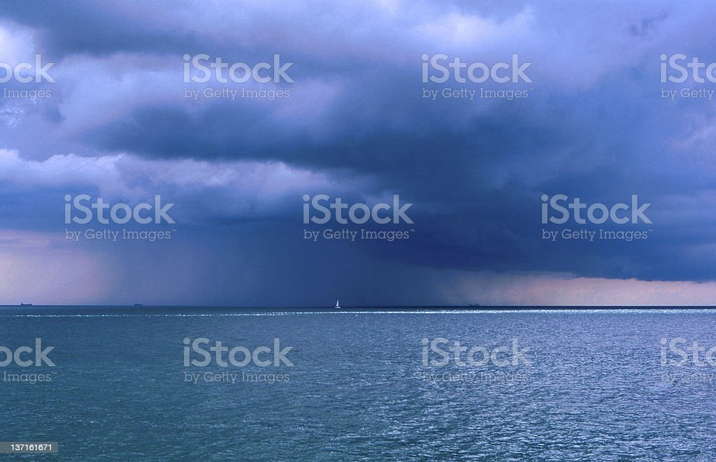 Sudden storm out at sea royalty-free stock photo