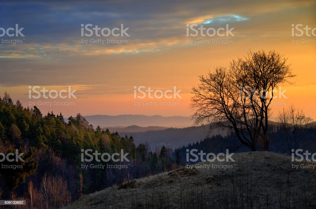 Sudety mountains stock photo