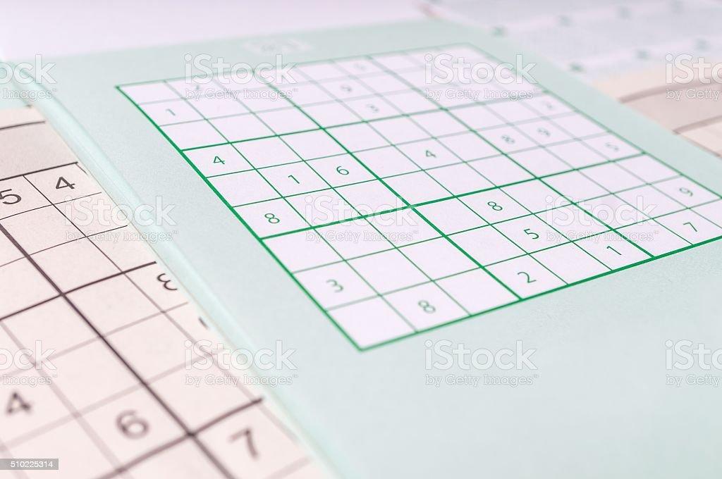 Sudoku crossword, close view. Brainteaser game. stock photo