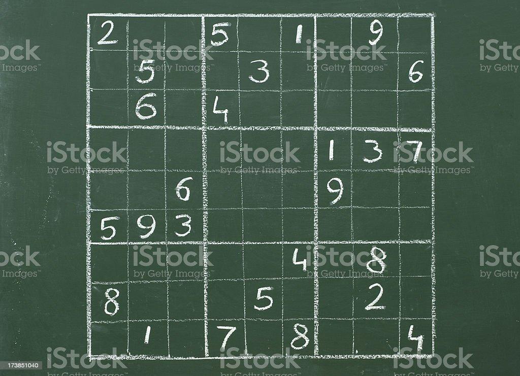 sudoku on a blackboard royalty-free stock photo