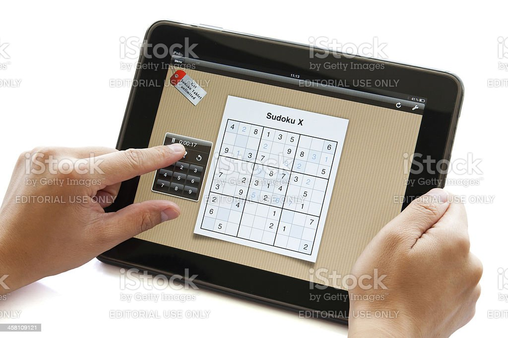 Sudoku puzzle on apple ipad royalty-free stock photo