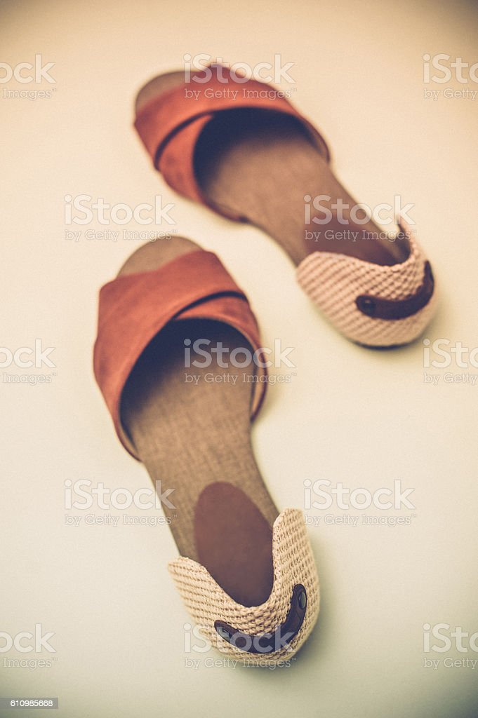 Suede brown and beige shoes stock photo