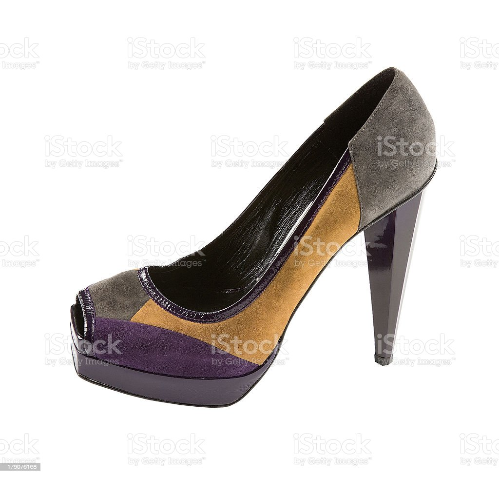 Suede peep toe stiletto royalty-free stock photo