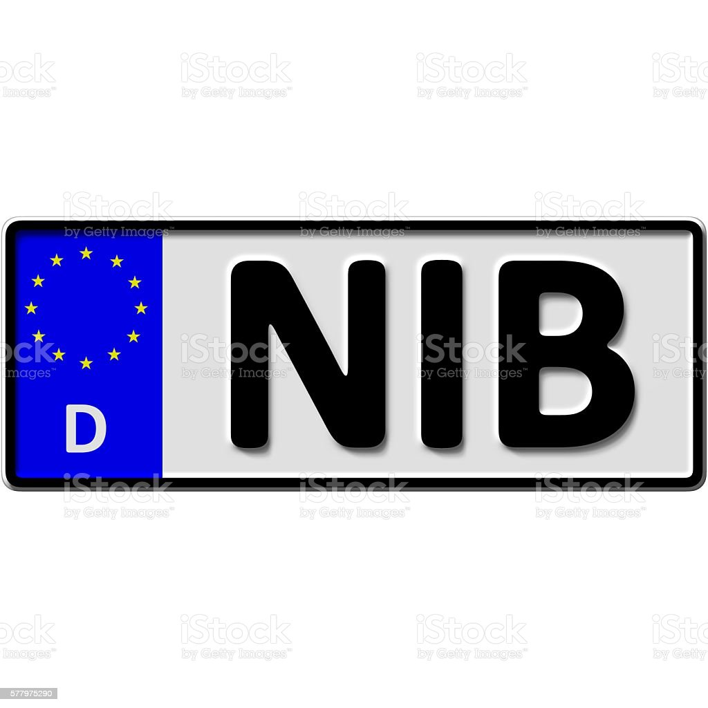 Suedtondern in Niebuell license plate number stock photo