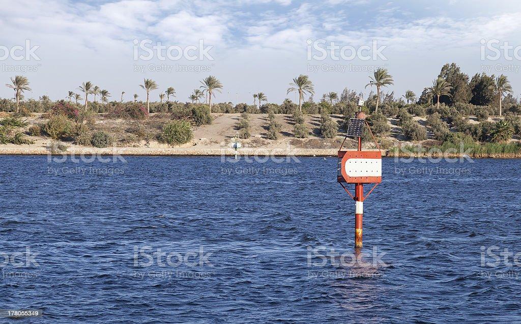 Suez canal navigation marks royalty-free stock photo