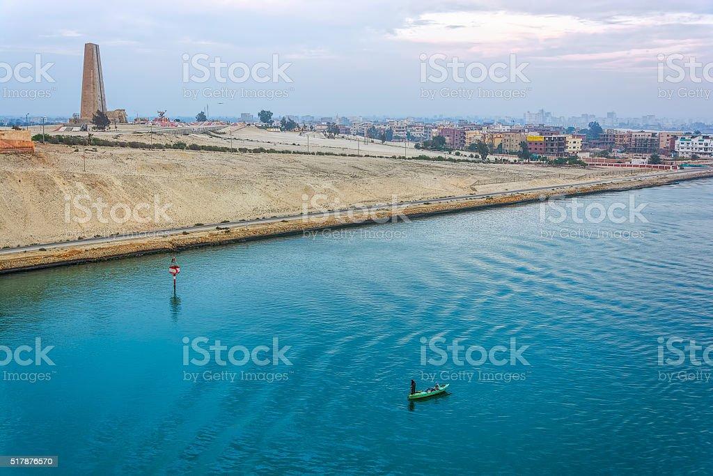 Suez canal shore stock photo