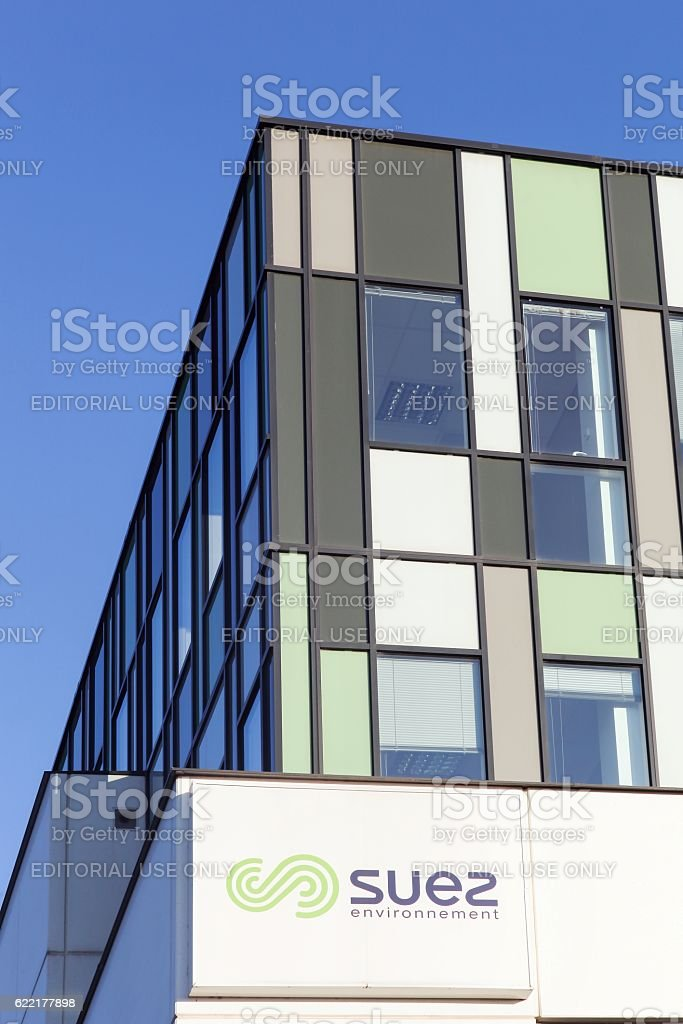 Suez Environnement building and office stock photo