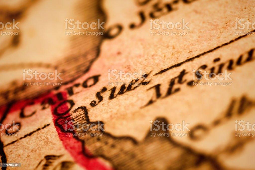 Suez on an Antique map stock photo