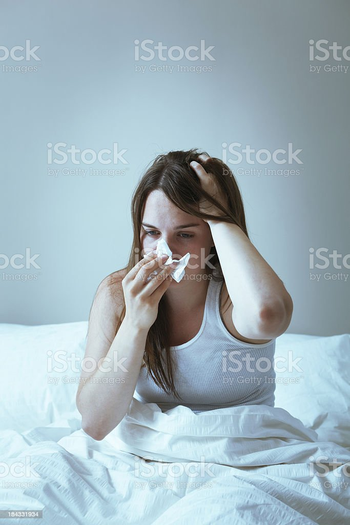 Suffering from Cold Flu and Sinus Headache Vt royalty-free stock photo
