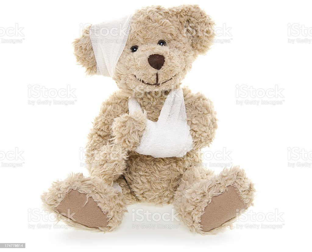 Suffering Injured Sweet Teddy Bear stock photo