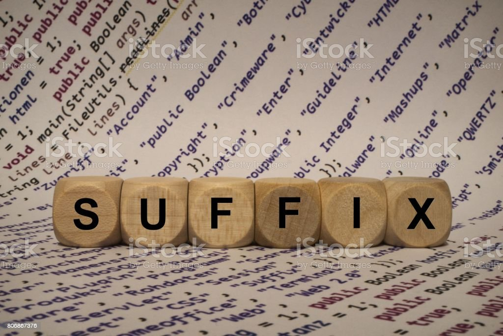 suffix - cube with letters and words from the computer, software, internet categories, wooden cubes stock photo