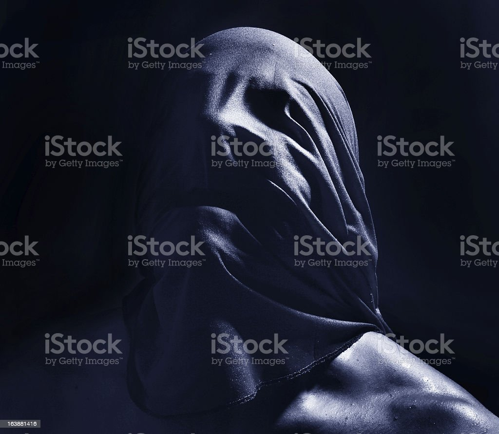 suffocate, scary face portrait stock photo