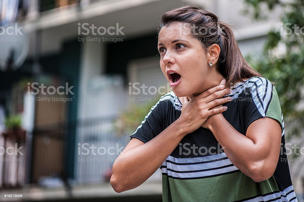 Suffocating girl stock photo