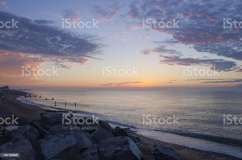 Suffolk coast at dawn, sunrise colours, Aldeburgh stock photo
