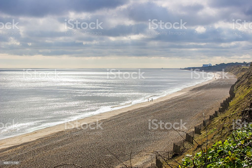 Suffolk coast in winter, Dunwich beach from cliffs stock photo