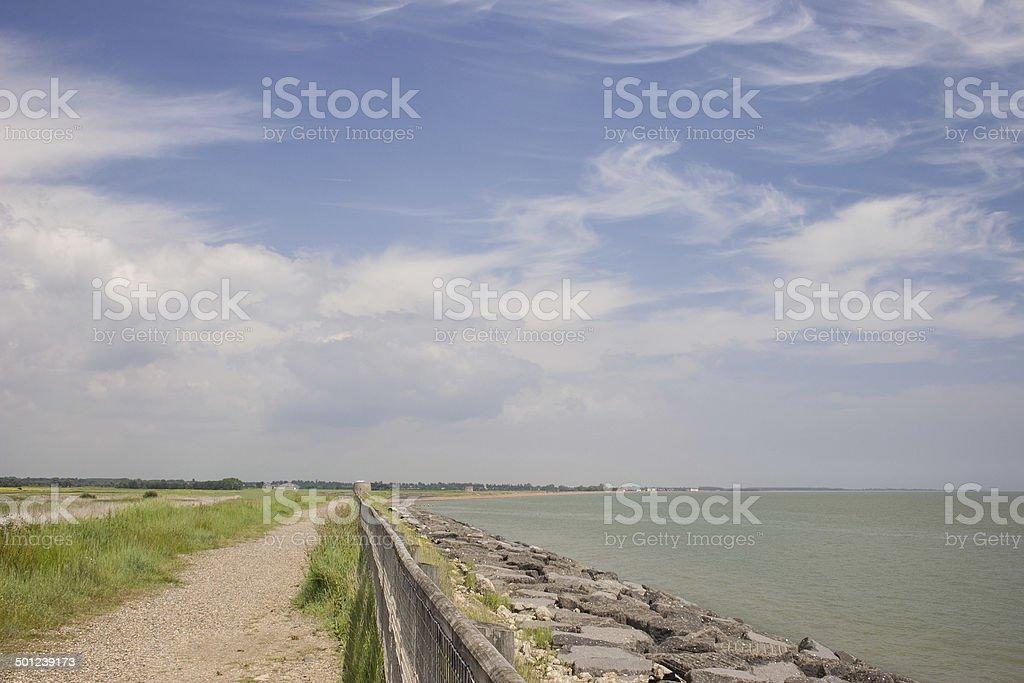 Suffolk Coast Path at East Lane, Bawdsey stock photo