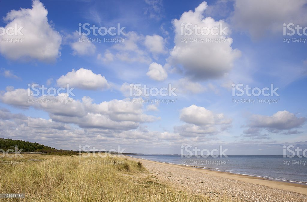 Suffolk coast view north from Sizewell to Dunwich stock photo