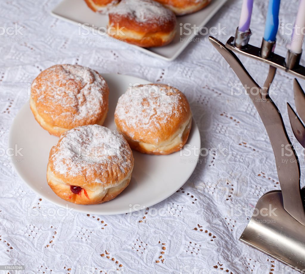 Sufganiot- Hanukkah Doughnuts royalty-free stock photo
